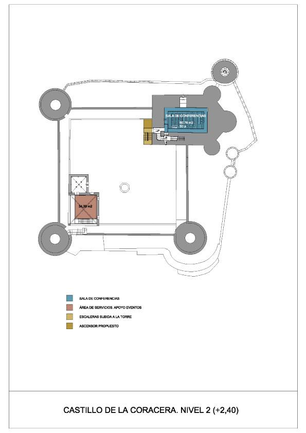 Plano del nivel 2 del Castillo de la Coracera